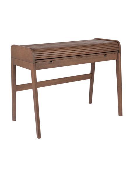 Holz-Schreibtisch Barbier mit rollbarer Abdeckung und geriffelter Front, Walnussholz, 110 x 85 cm