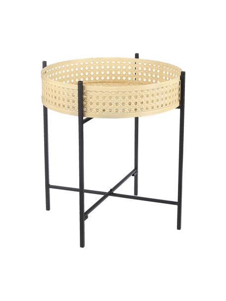 Tavolino in metallo Jaylee, Metallo rivestito, Nero, beige, Ø 38 x Alt. 45 cm