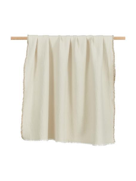 Manta de doble cara de algodón con flecos Thyme, 100%algodón ecológico, Beige, blanco crema, An 130 x L 180 cm