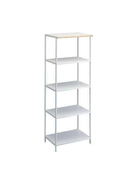 Metall-Standregal Killy in Weiß mit Handtuchhalterung, Griff: Holz, Weiß, 60 x 170 cm