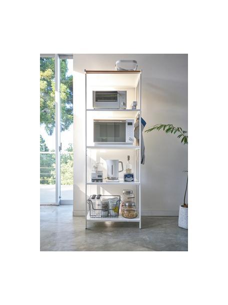 Estantería de metal Killy, con toallero, Estantería: metal con pintura en polv, Asa: madera, Blanco, An 60 x F 170 cm