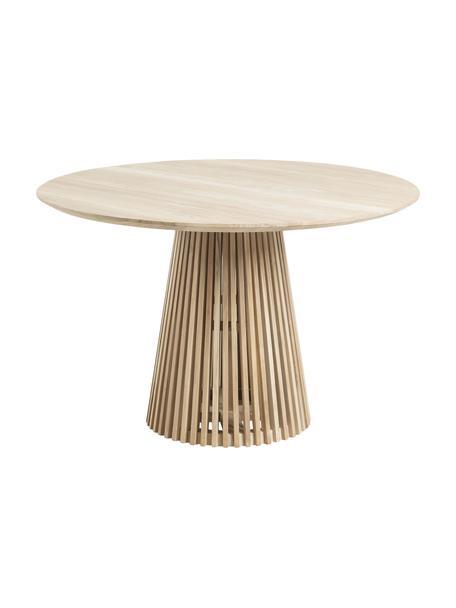 Okrągły stół do jadalni z litego drewna w stylu scandi Jeanette, Naturalne drewno tekowe, Drewno tekowe, Ø 120 x W 78 cm