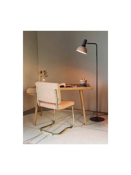 Sedia cantilever in teddy Kink, Rosa, ottone, Larg. 48 x Prof. 48 cm