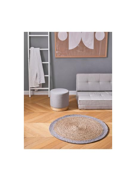 Runder Jute-Teppich Shanta mit grauem Rand, handgefertigt, 100% Jute, Beige, Grau, Ø 100 cm (Grösse XS)