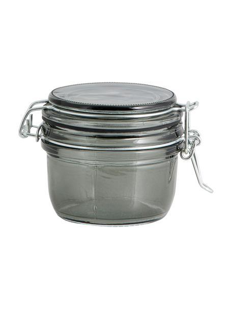 Glas-Aufbewahrungsglas Pear in Grau, Glas, Metall, Gummiband, Grau, Ø 9 x H 7 cm