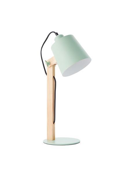 Lámpara de escritorio grande Swivel, Pantalla: metal, Cable: cubierto en tela, Verde menta, madera, An 16 x Al 52 cm
