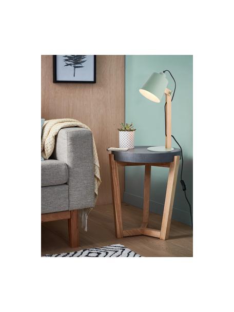 Große Schreibtischlampe Swivel mit Holzfuß, Lampenschirm: Metall, Lampenfuß: Metall, Mintgrün, Holz, 16 x 52 cm