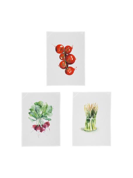 Katoenen theedoekenset Marchè, 3-delig, Wit, groen, rood, 50 x 70 cm