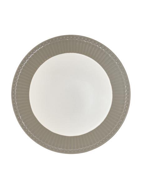 Handgemaakte ontbijtborden Alice in grijs met reliëfdesign, 2 stuks, Porselein, Grijs, wit, Ø 23 cm
