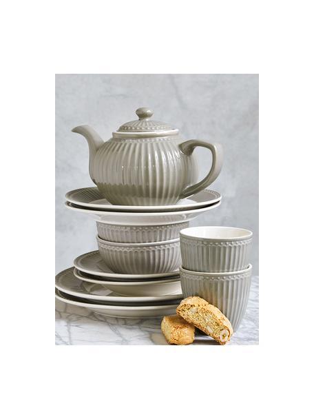 Handgemachte Frühstücksteller Alice in Grau mit Reliefdesign, 2 Stück, Steingut, Grau, Weiß, Ø 23 cm