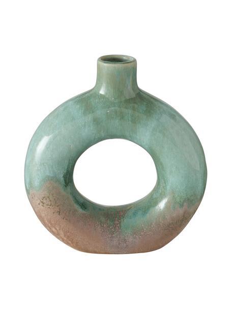 Wazon szkliwiony Peruya, Kamionka, Zielony, beżowy, S 19 x W 21 cm