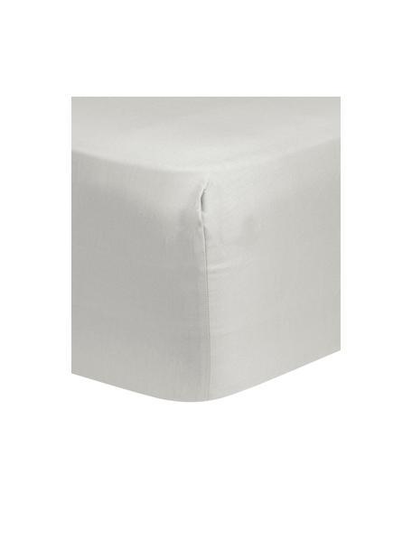 Lenzuolo con angoli in raso di cotone grigio chiaro Comfort, Grigio chiaro, 90 x 200 cm