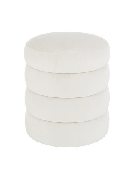 Fluwelen poef Alto in crèmewit, Bekleding: fluweel (100% polyester), Frame: massief grenenhout, multi, Fluweel crèmewit, Ø 42 x H 47 cm