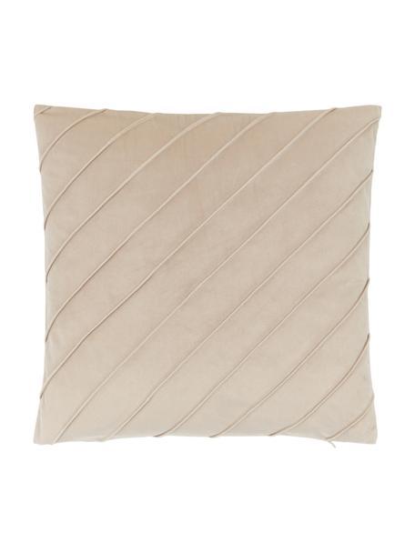 Poszewka na poduszkę z aksamitu Leyla, Aksamit (100% poliester), Beżowy, S 40 x D 40 cm