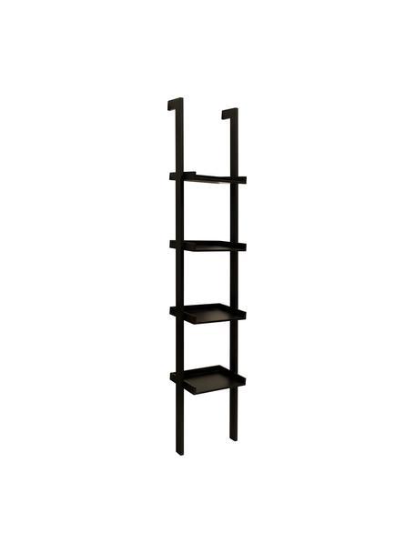 Estantería escalera de madera Wally, Tablero de fibras de densidad media(MDF) pintado, Negro, An 37 x Al 180 cm