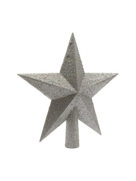 Bruchsichere Weihnachtsbaumspitze Stern Ø 19 cm, Kunststoff, Glitzer, Silberfarben, Ø 19 cm