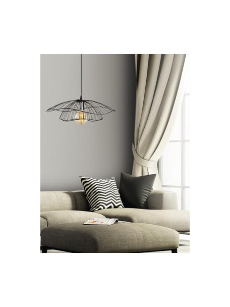 Lámpara de techo de metal Tel, Pantalla: metal recubierto, Anclaje: metal recubierto, Cable: plástico, Negro, Ø 50 x Al 14 cm