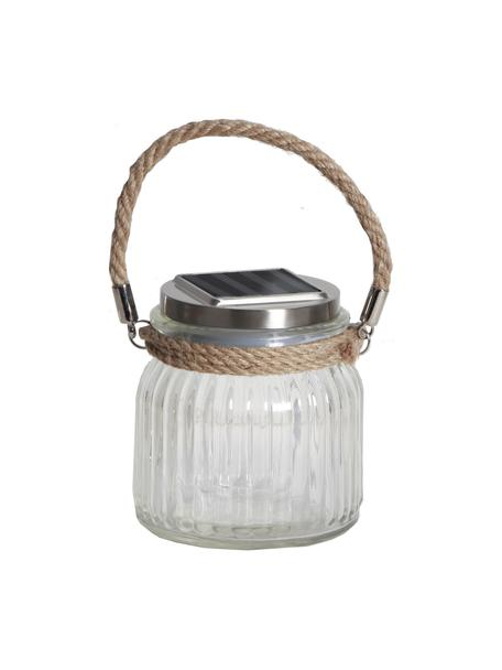 Lampada solare da esterno Glass Jar, Paralume: vetro, Manico: sisal, Trasparente, Larg. 11 x Alt. 12 cm