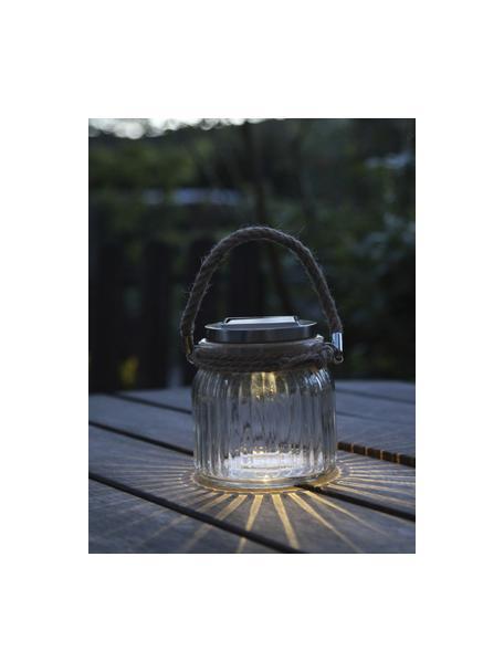Lámpara farolillo solar para exterior Glass Jar, Pantalla: vidrio, Asa: sisal, Transparente, An 11 x Al 12 cm