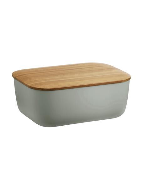 Botervloot Box-It in grijs met bamboe deksel, Deksel: bamboehout, Grijs, bamboehoutkleurig, 15 x 7 cm