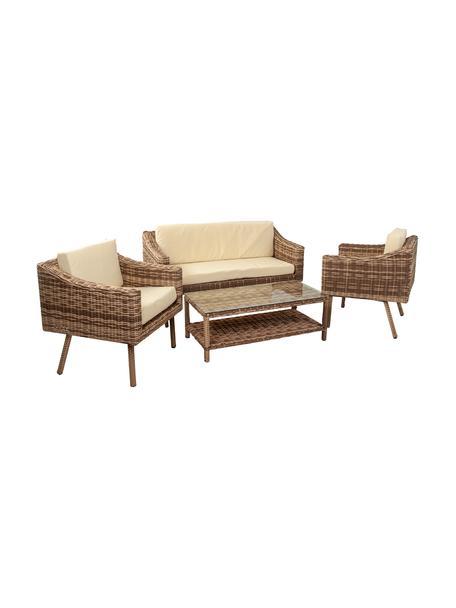 Tuin loungeset Barny, 4-delig, Frame: kunstrotan, Bekleding: stof, Tafelblad: glas, Bruintinten, Set met verschillende formaten