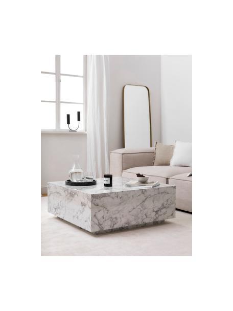 Mesa de centro en look mármol Lesley, Tablero de fibras de densidad media(MDF) recubierto en melanina, Mármol blanco brillante, An 90 x F 35 cm