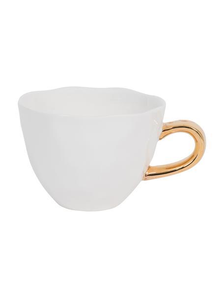 Tasse Good Morning in Weiss mit goldfarbenem Griff, Steingut, Weiss, Goldfarben, Ø 11 x H 8 cm