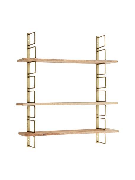 Estante de pared de madera y metal Reggio, Estructura: metal, recubierto, Estantes: madera de mango, Latón, madera de mango, An 64 x Al 74 cm