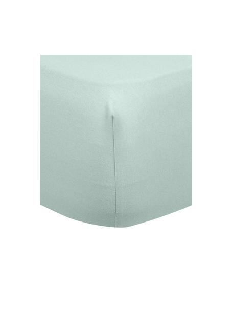 Flanellen hoeslaken Biba in saliegroen, Weeftechniek: flanel, Saliegroen, 140 x 200 cm