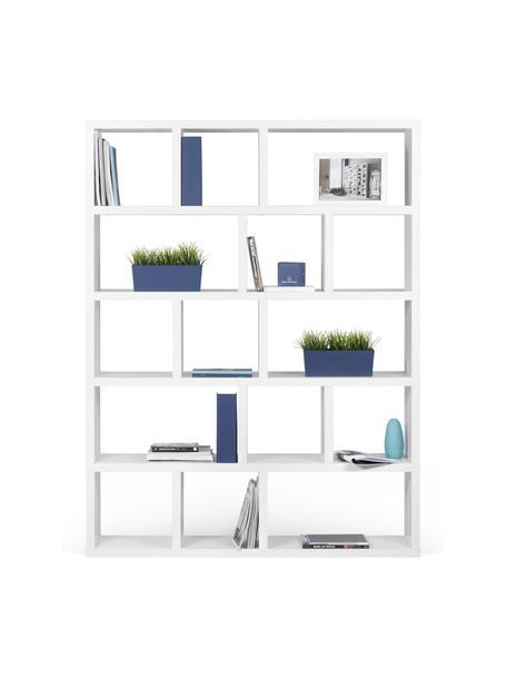 Grosses Bücherregal Portlyn in Weiss, Oberfläche: Melaminschicht., Weiss, matt, 150 x 198 cm