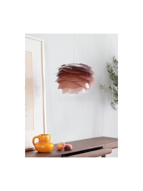 Hanglamp Carmina Mini, bouwpakket, Lampenkap: polycarbonaat, polypropyl, Baldakijn: polypropyleen, Terracottarood, Ø 32 x H 22 cm