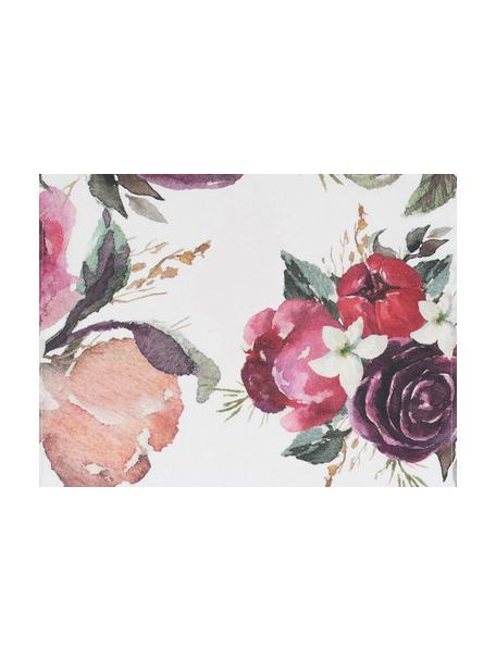 Baumwoll-Tischsets Florisia mit Blumenmuster, 2 Stück, 100% Baumwolle, Rosa, Weiß, Lila, Grün, 38 x 50 cm