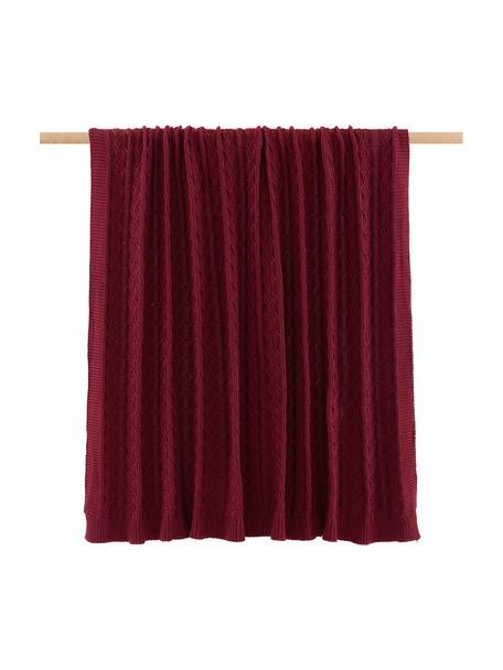 Plaid fatto a maglia con motivo a trecce Caleb, 100% cotone, Rosso scuro, Larg. 130 x Lung. 170 cm