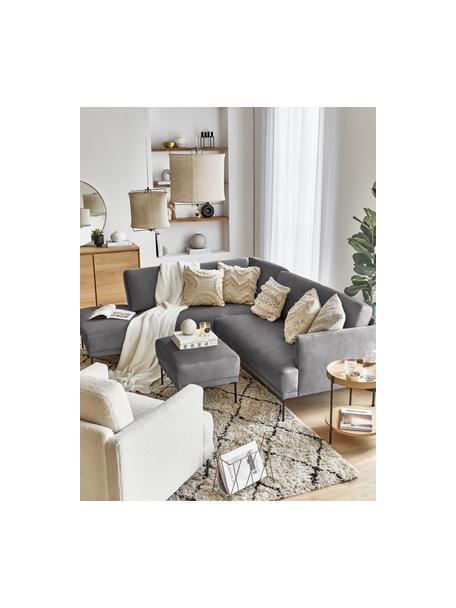 Poggiapiedi da divano in velluto grigio scuro Fluente, Rivestimento: velluto (rivestimento in , Struttura: legno di pino massiccio, Piedini: metallo verniciato a polv, Velluto grigio marrone, Larg. 62 x Alt. 46 cm