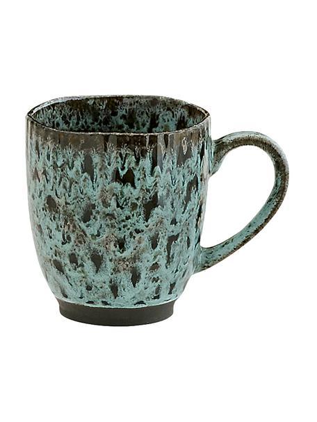Tazas de café de gres Vingo, 2uds., Gres, Verde azulado, negro, Ø 10 x Al 11 cm