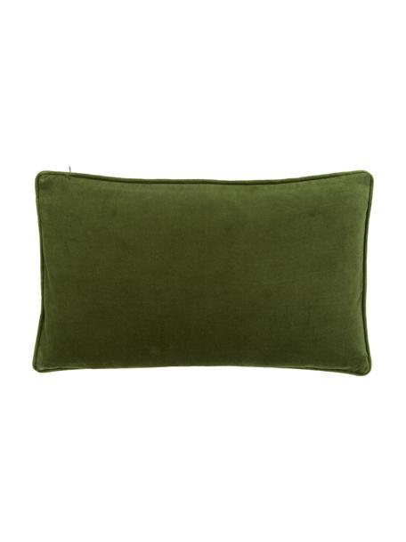 Einfarbige Samt-Kissenhülle Dana in Moosgrün, 100% Baumwollsamt, Moosgrün, 30 x 50 cm