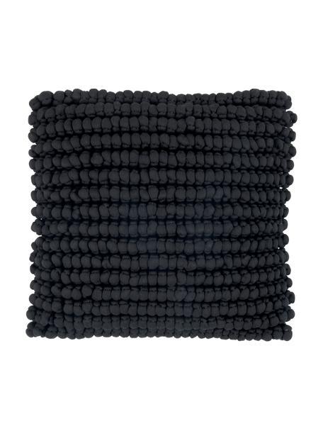 Funda de cojín en tejido de bolitas Iona, Parte delantera: 76%poliéster, 24%algodó, Parte trasera: algodón, Negro, An 45 x L 45 cm