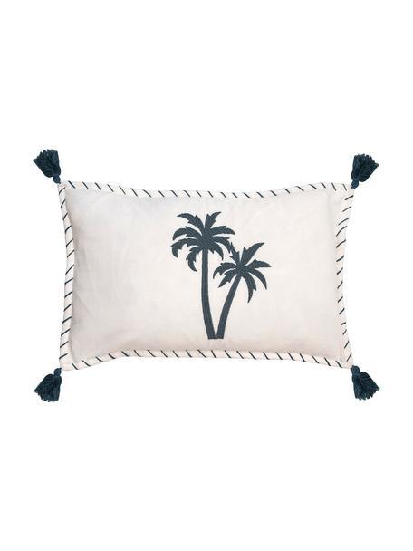 Fluwelen kussenhoes Bali met geborduurde palmen en kwastjes, 100% katoen, Wit, marineblauw, 30 x 50 cm