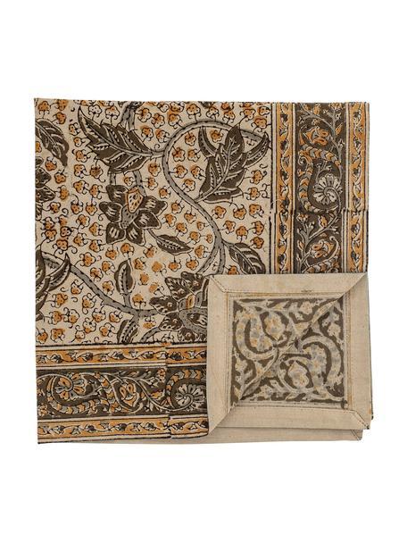 Serwetka z bawełny Nil, 4 szt., 100% bawełna, Zielony, brązowy, S 45 x D 45 cm