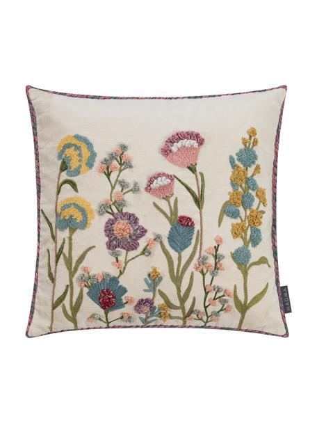 Funda de cojín bordada Lilotte, Parte superior: 80%algodón, 10%viscosa,, Parte trasera: 100%algodón, Beige, multicolor, An 50 x L 50 cm
