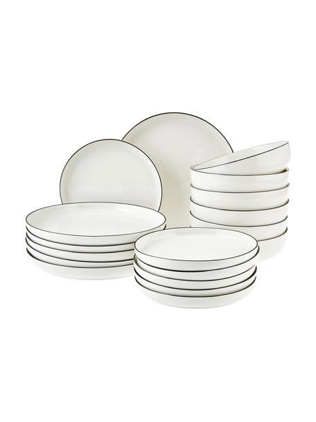 Set 18 piatti in porcellana con bordo nero per 6 persone Facile, Porcellana, Nero, 6 persone (18 pz)