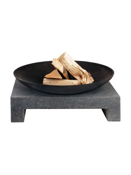 Feuerschale Granito mit Sockel, Schale: Metall, beschichtet, Sockel: Terrazzo, Schwarz, 59 x 25 cm