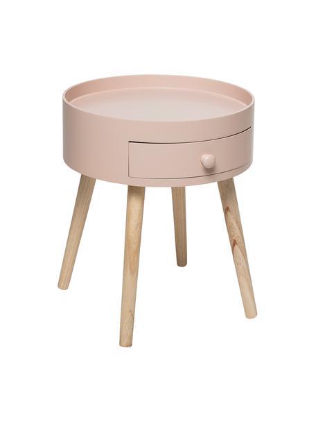 Mesa auxiliar First, Estructura: tablero de fibras de dens, Patas: madera de roble con acaba, Rosa palo, Ø 38 x Al 45 cm