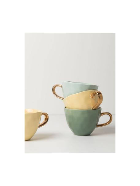 Mok Good Morning in donkergroen met goudkleurig handvat, Keramiek, Donkergroen, goudkleurig, Ø 11 x H 8 cm