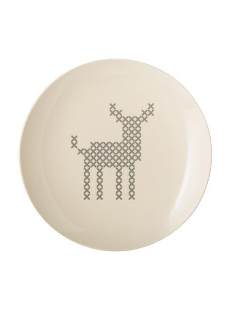 Ontbijtbord Cross met hertenmotief, Keramiek, Gebroken wit, grijs, Ø 20 cm