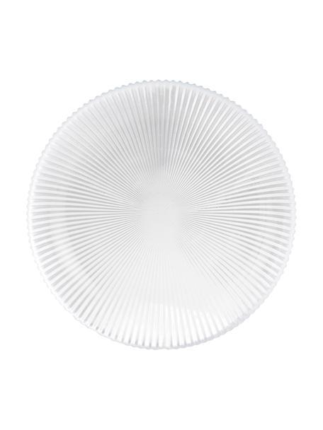 Frühstücksteller Nola aus Glas mit Rillenrelief, 2 Stück, Glas, Transparent, Ø 21 cm