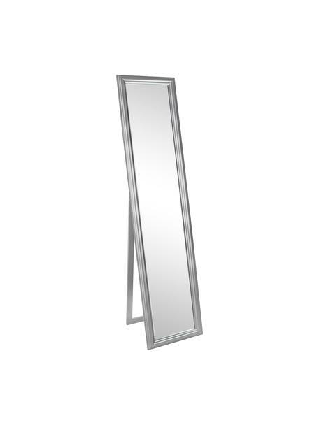 Rechthoekige staande spiegel Sanzio met een zilveren frame van paulowniahout, Frame: paulowniahout, gecoat, Zilverkleurig, 40 x 170 cm