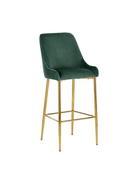 Krzesło barowe z aksamitu Ava, Tapicerka: aksamit (100% poliester) , Aksamitny ciemny zielony, S 48 x W 107 cm