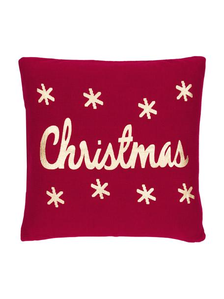 Strick-Kissenhülle Christmas in Rot/Gold mit Schriftzug, Baumwolle, Rot, Gold, 40 x 40 cm