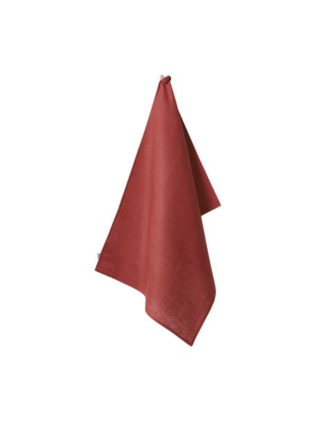 Paño de cocina de lino Heddie, 100%lino, Rojo, An 50 x L 70 cm